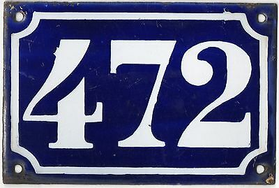 Old blue French house number 472 door gate plate plaque enamel metal sign c1900