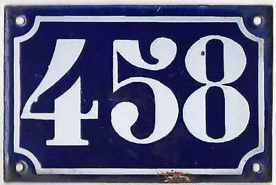 Old blue French house number 458 door gate plate plaque enamel metal sign c1900