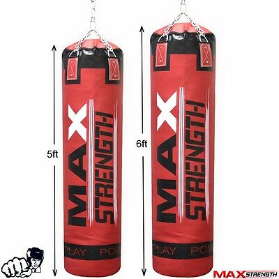 MAXSTRENGTH Unfilled 5ft / 6ft  Boxing Punch Bag Kick Fight Training Martial Art