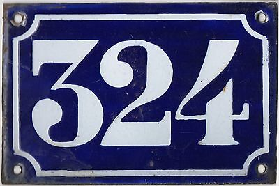 Old blue French house number 324 door gate plate plaque enamel metal sign c1900