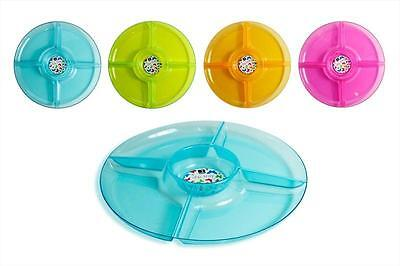 Set Of 2 Plastic 5 Compartment Round Snack Sweet Sauce Nuts Serving Plate Dish