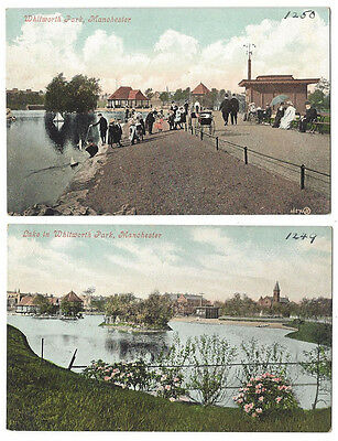 MANCHESTER Whitworth Park, 2x Old Postcards by Valentine, Both Unused