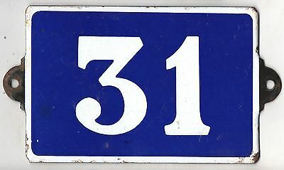 Old blue French house number 31 door gate plate plaque enamel metal sign steel