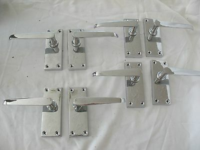 4 pair old vintage reclaim art deco style chrome lever door handles