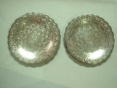 "2 Vntg Egyptian 900 Silver Ornately Etched 6.25"" Round Plates Trays ~ 264 Grams!"