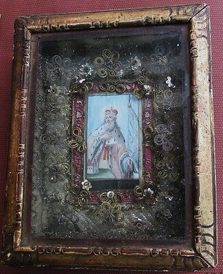 Original Antique Reliquary Watercolor St. Leopold Patron Saint of Austria