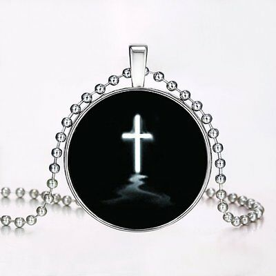 Cross Charm Luminous Glow In The Dark Pendant Chain Steampunk Halloween Necklace
