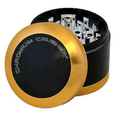 Chromium Crusher 2.5 Inch 4 Piece Bladed Teeth Tobacco Spice Herb Grinder -Gold