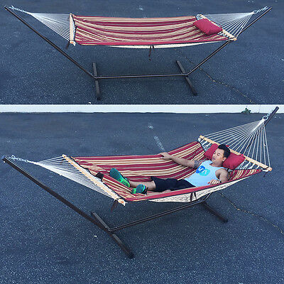 Garden Furniture Convertible Rope Quilted Hammock Pillow Heavy Duty Steel Stand