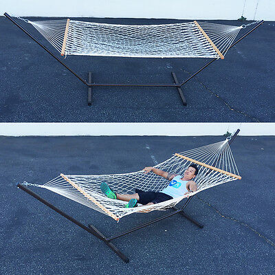 New Outdoor Swing Set with Stand Camping Double Bed Patio Rope Hammock