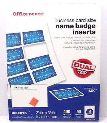 OFFICE DEPOT NAME BADGE INSERTS 400 COUNT Business Card Size 463 113