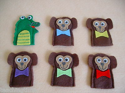5 five cheeky monkeys felt finger puppet set with song words