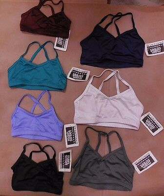 NWT camisole dance bra many colors child/ladies spandex frontlined crisscross bk