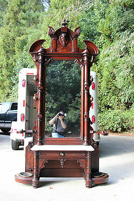 Monumental Walnut Victorian Egyptian Revival Marble Top Hall Tree Stand ~Ca.1870