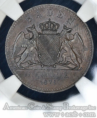 Germany-Baden 1 Kreuzer 1871 MS64 BN NGC copper KM#252 Victory over France