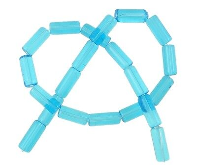22 PEARLS GLASS CYLINDER CRYSTAL GLASS BEADS BLUE AQUAMARINE 14mm NEW BEADS R330