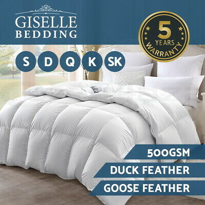 DUCK GOOSE Feather Down Quilt Winter Blanket 500GSM Cotton Cover Doona ALL SIZES