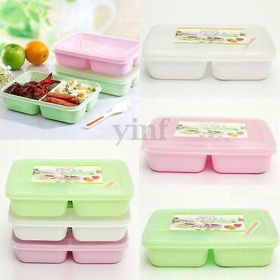 3 Compartments Student Microwave Lunch Bento Box Spoon Storage Food Container