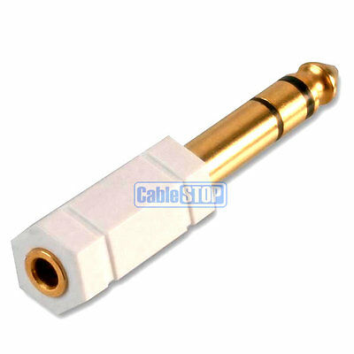 "WHITE 6.35mm 1/4"" Plug to 3.5mm Mini Socket Stereo Jack Headphone Adapter"