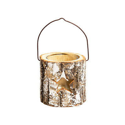 Rustic Tree Bark CHRISTMAS STAR TEALIGHT Candle HOLDER Outdoor Decoration Votive