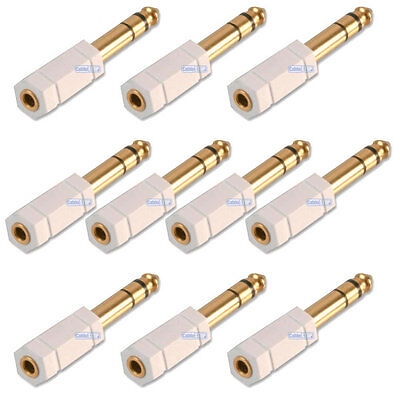 "10 x WHITE 6.35mm 1/4"" Plug to 3.5mm Mini Socket Stereo Jack Headphone Adapter"