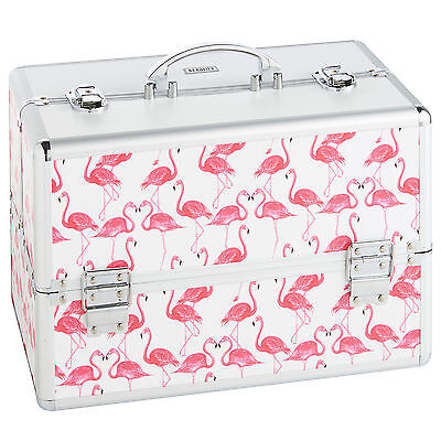 Beautify Large White Flamingo Beauty Case Professional Cosmetic Makeup Nail Box