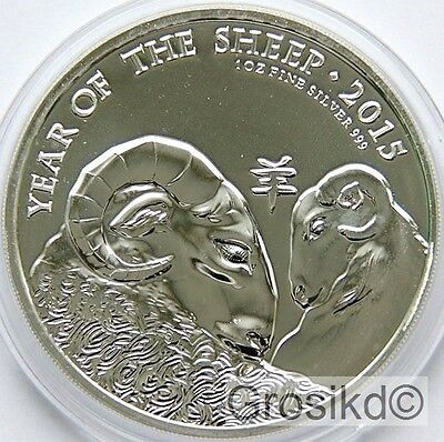 GREAT BRITAIN £2 2015 YEAR OF THE SHEEP 1 Oz .999 SILVER BU with capsule