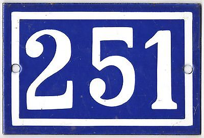 Old blue French house number 251 door gate plate plaque enamel metal sign steel