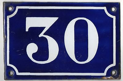 Old blue French house number 30 door gate plate plaque enamel metal sign c1900