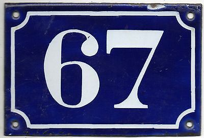 Old blue French house number 67 door gate plate plaque enamel metal sign c1900 • CAD $69.57