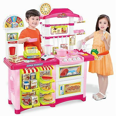 Vinsani 38 Pcs Pink Electronic Lights & Sounds Pretend Play Kitchen Cooking Set