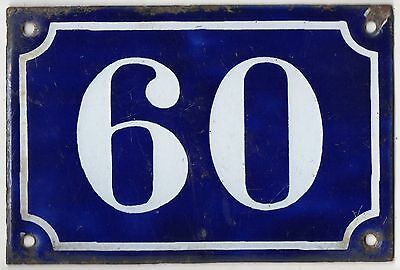 Old blue French house number 60 door gate plate plaque enamel metal sign c1900