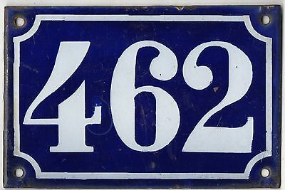 Old blue French house number 462 door gate plate plaque enamel metal sign c1900