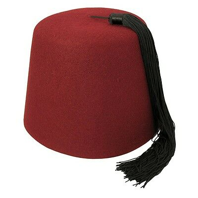 Village Hats Maroon Fez with Black Tassel