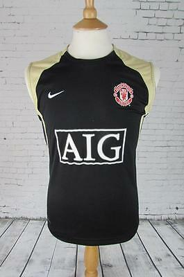 Mens Vintage Manchester United Football Shirt Training Vest Soccer Small