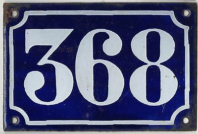 Old blue French house number 368 door gate plate plaque enamel metal sign c1900