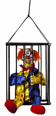 Animated Clown in Cage Hanging Shaking Talking Halloween Décor Decoration