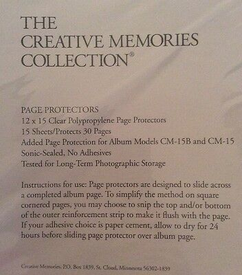 Creative Memories Clear Page Protectors 12x15 15 Sheets CM-15B CM-15 No Adhesive