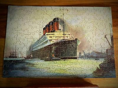 "Chad Valley Vintage 1929 Cunard ""aquitania"" Boxed Complete Wooden Jigsaw"
