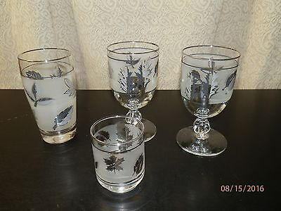 Vintage Libbey Silver Leaf items 4 pieces_Pre owned good condition
