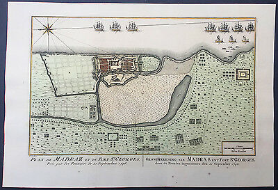 1757 Bellin Antique Map of Chennai, Madras, Fort St George, Tamil Nadu, India