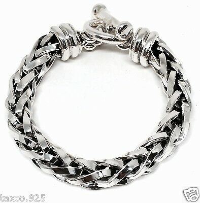 Taxco Mexican 925 Sterling Silver Thick Heavy Men's Unisex Chain Bracelet Mexico