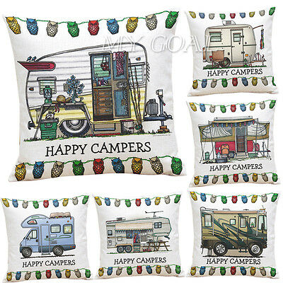 Happy Campers Cotton Linen Pillow Sofa Case Waist Throw Cushion Cover Home Decor