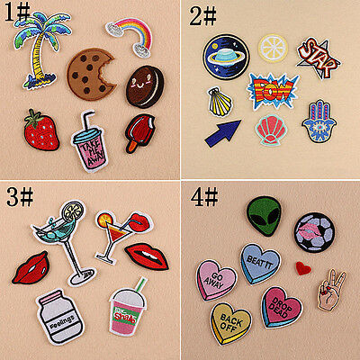 8Pcs 4 Styles Embroidery Sew Iron On Patch Badge DIY Bag Clothes Fabric Applique