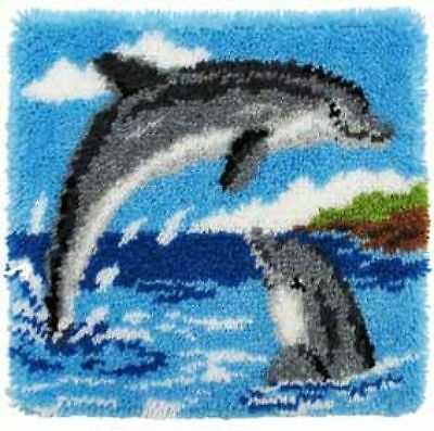 """Vervaco DOLPHINS  Latch Hook Cushion Front Kit 16"""" x 16"""""""