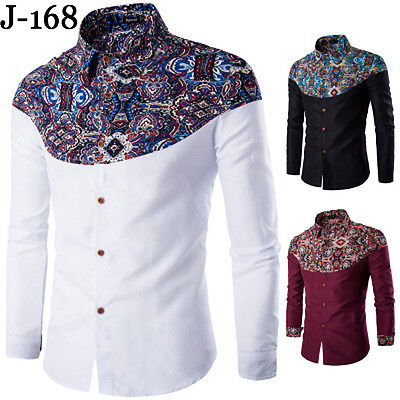 New Fashion Mens Slim Fit Shirt Casual Long Sleeve Blouse Tops Dress T-shirts