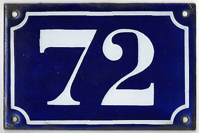 Old blue French house number 72 door gate plate plaque enamel metal sign c1900