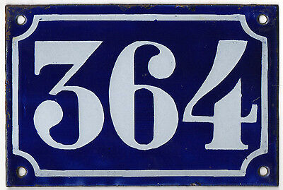 Old blue French house number 364 door gate plate plaque enamel metal sign c1900
