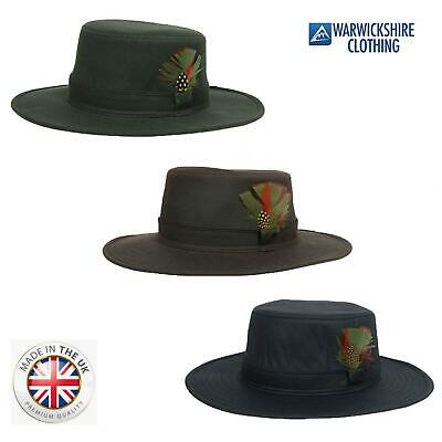 Country Classics Fishing Wax Aussie Outback Bush Hat with Wide Brim Feather