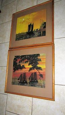 Pair Large Vintage Watercolor Paintings On Silk Bamboo Wood Frames Japanese Art